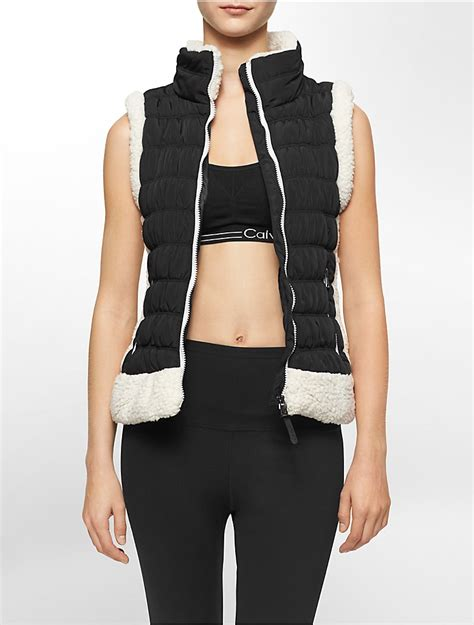Lust List Shearling Puffer Vest by Calvin Klein Womens Performance Faux Shearling Trim Puffer