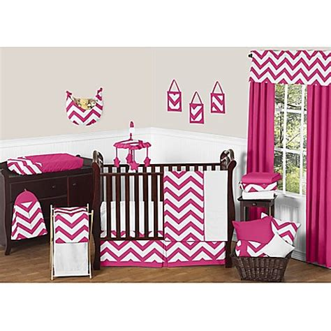 White And Pink Crib Bedding Sweet Jojo Designs Chevron Crib Bedding Collection In Pink And White Buybuy Baby