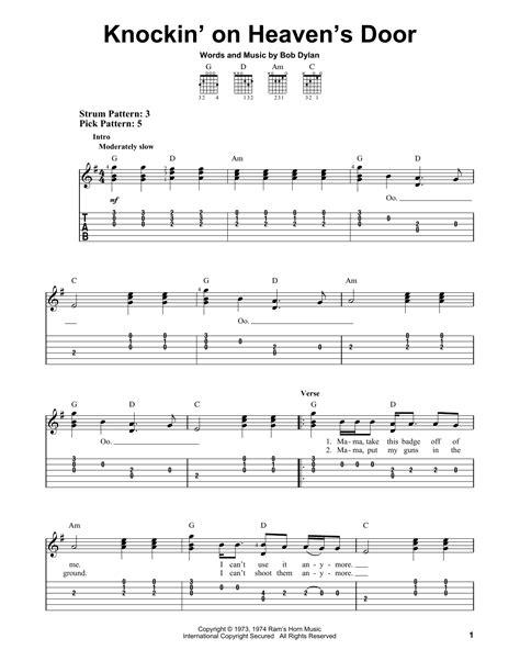 learn guitar knocking on heavens door knockin on heaven s door by bob dylan easy guitar tab