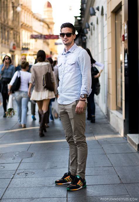Dress Tenis Putih guys casual style look denim shirt chinos adidas sneakers peopleandstyles 1 jpg stylish