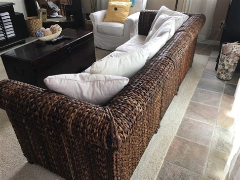 seagrass sofa letgo pottery barn seagrass roll arm sofa in encinitas ca