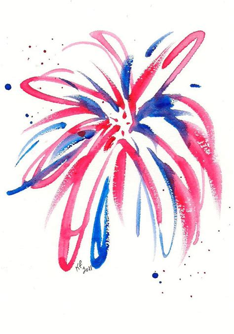 the color of water in july firework original watercolor painting 4x6 by