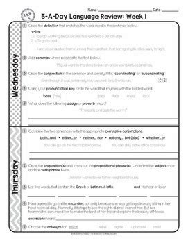 Daily Language Review Grade 5 Worksheets by 5th Grade Daily Language Spiral Review Morning Work Editable By Got To Teach