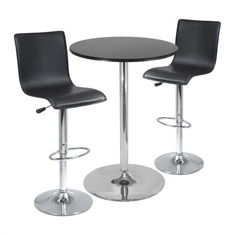 High Bar Table Set High Back 3 Pub Bar Table Set In Black Chrome 93345