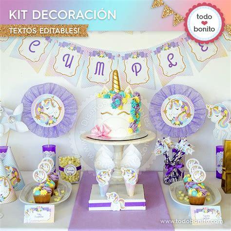 como decorar fiesta de unicornio unicornio kit imprimible decoraci 243 n de fiesta todo bonito
