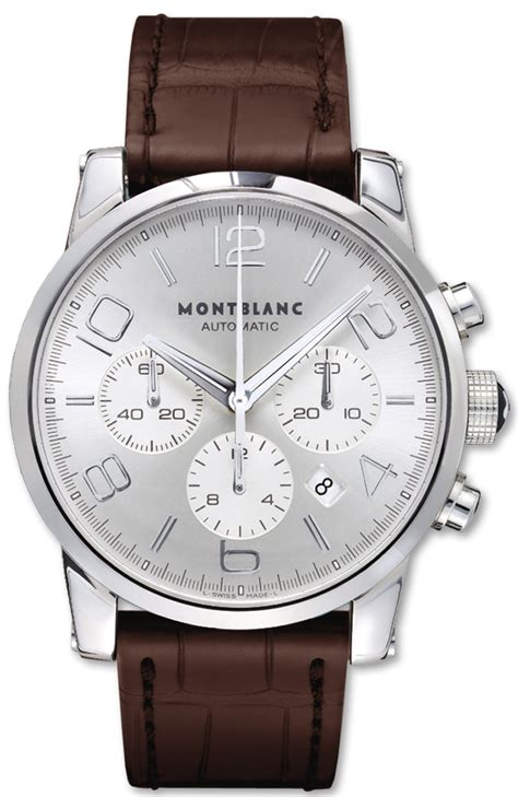 09671 montblanc timewalker chronograph brown leather