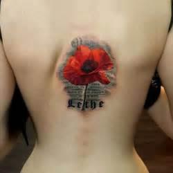 Lyudmila ziora red poppy flower tattoo tattooed in the middle her