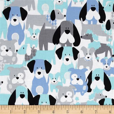 puppy fabric michael miller pastel pop dang it aqua discount designer fabric fabric