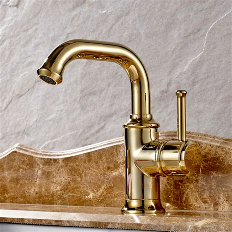 luxury gold bathroom sink faucet polished brass finish