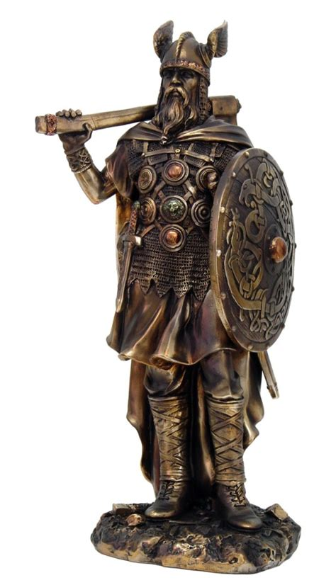 Greek God Statues by Viking Warrior With Axe Statue