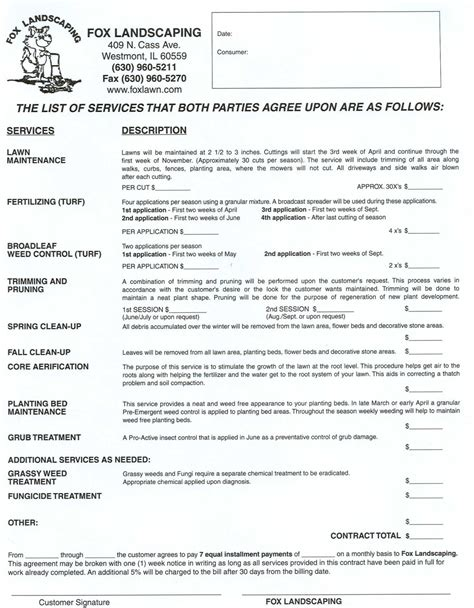 Landscaping Contract Get The Right Contract Landscaping Landscape Lawn Contract Template