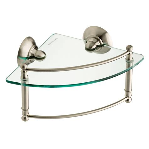 Glass Bathroom Shelves Brushed Nickel Delta 8 In Glass Bathroom Corner Shelf With Towel Bar In Spotshield Brushed Nickel Hextn16