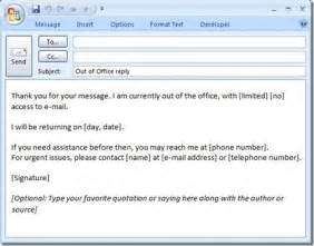 Ooo Mail Template by How To Create A Quot Out Of Office Quot Message That Will