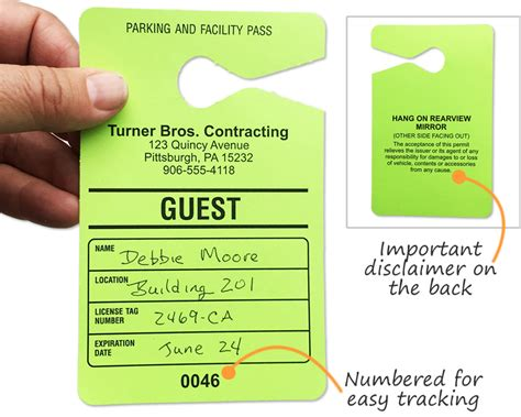 guest parking passes customize