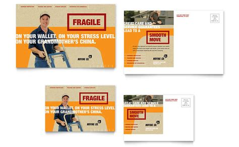 business moving cards templates movers moving company postcard template design