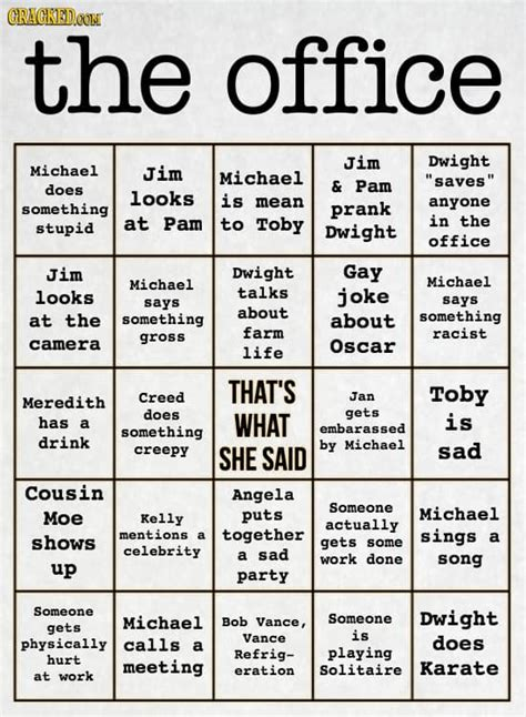 printable games for the office 21 bingo cards for watching formulaic tv shows