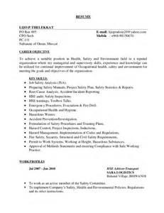 Hse Advisor Sle Resume by Lijo Trasport Hse Resume