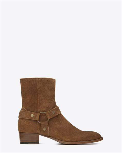 ysl boots laurent classic wyatt 40 harness boot in nut suede