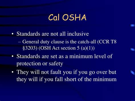 section 5 a 1 of the osh act ppt cal osha required training powerpoint presentation