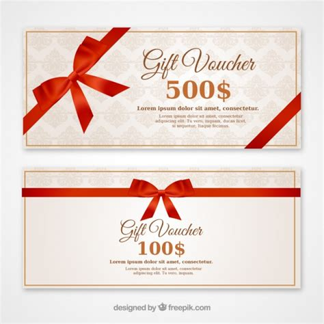 discount vouchers with a red bow vector free download