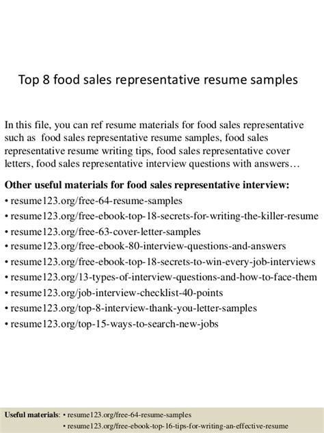 top 8 food sales representative resume sles