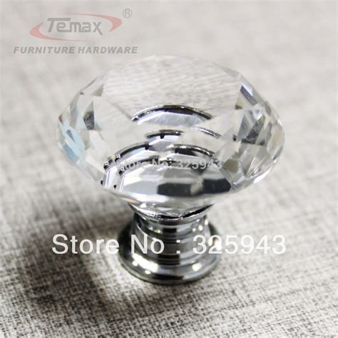 400pcs 30mm clear zinc glass crystal knobs and handles