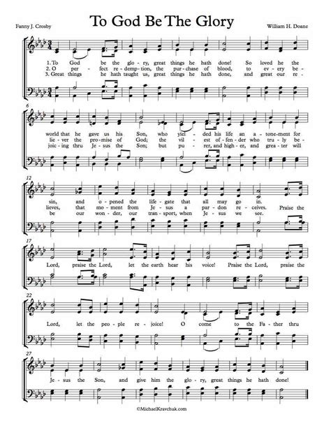 Be The To Score by Free Choir Sheet To God Be The