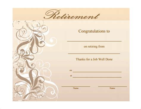 retirement certificate template retirement certificate wording pictures to pin on
