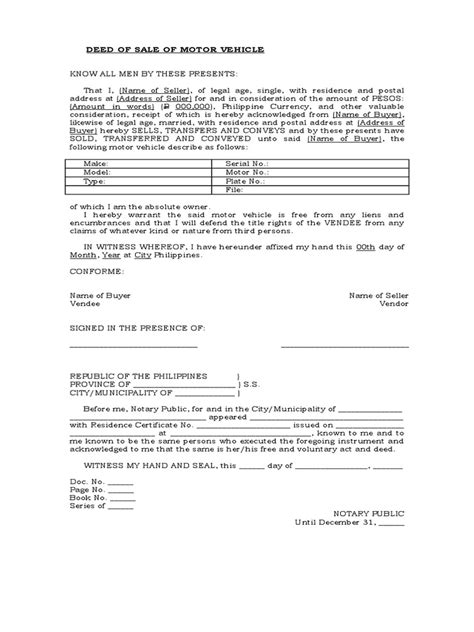 Deed Of Sale Of Motor Vehicle Template Car Sale Deed Template Usa
