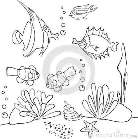 underwater world printable coloring pages underwater world stock vector image 55802298
