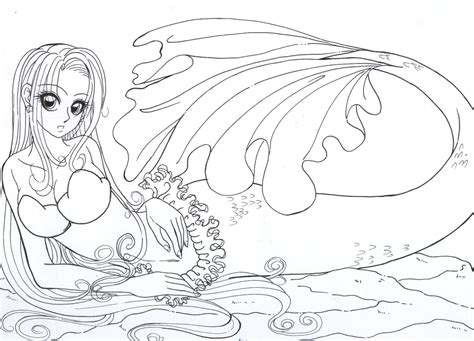 coloring pages anime mermaids mermaid colour me by resiove on deviantart