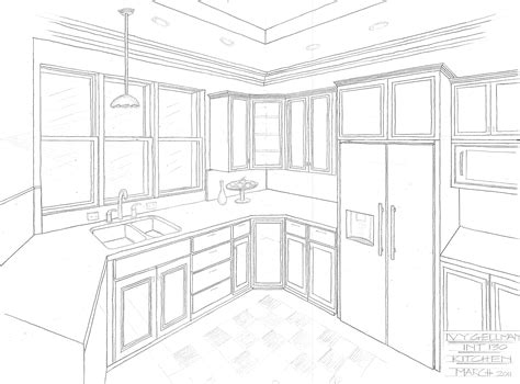 Two Point Perspective Interior by Interior Design Perspective Drawing