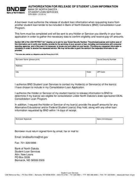 authorization release form authorization for release of student loan information