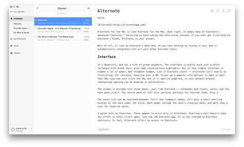 like evernote but better alternote review minimalist markdown evernote app for os