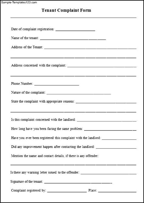 sample tenant complaint form sample templates