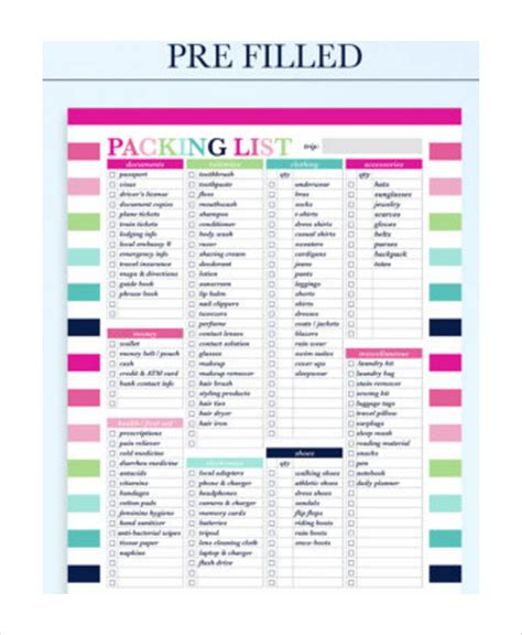 travel packing list template travel packing list 10 free word pdf psd documents