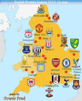 map uk football clubs map of premier league teams premier league 2013 14