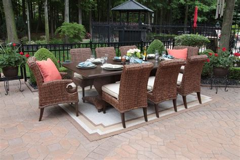 Aerin Collection All Weather Wicker Luxury Patio Furniture 8 Person Patio Dining Set