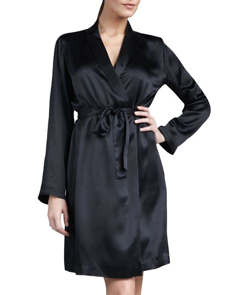 la perla robe la perla studio silk robe in white black lyst