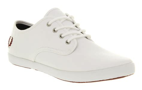 mens fred perry foxx canvas white port smu trainers shoes