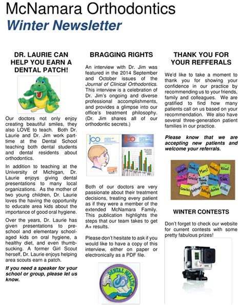 Patient Education Newsletter Mcnamara Orthodontics Newletter About Braces Invisalign And Dental Care
