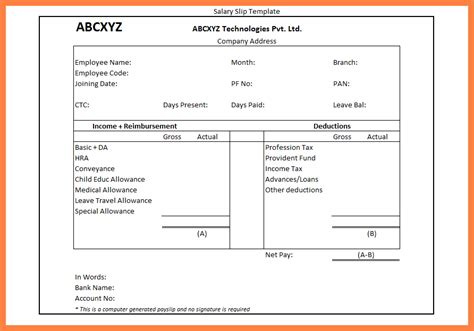 7 salary advance format in excel salary slip