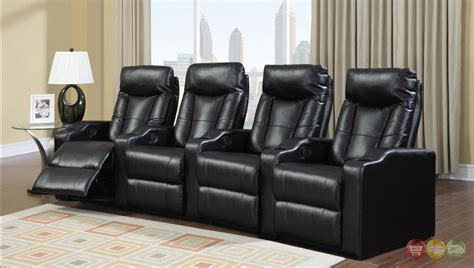 Reclining Theatre Seats by Black Bonded Leather Home Theater Seating Reclining 4