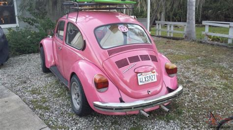 pink volkswagen beetle with eyelashes 1973 volkswagen beetle bug bright pink unique with