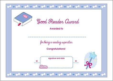 template for reading award certificate certificate for good reading template loving printable