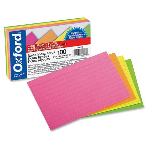 oxford custom printable index cards template oxford 40279 assorted glow ruled index cards 3 quot x 5 quot 100