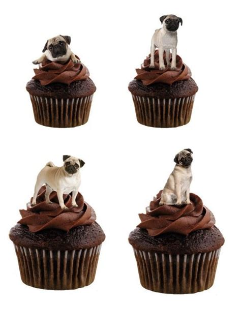 pug cupcake toppers pug edible stand up wafer paper cupcake toppers