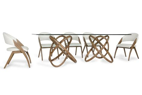 Glass And Walnut Dining Table Modrest Modern Glass Walnut Dining Table