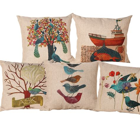 designer pillows for sofa linen cotton blending new design printed seat cushion
