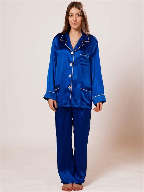 Mulberry Silk Duvets Mulberry Silk Pajama Set For Women A 136 Blue